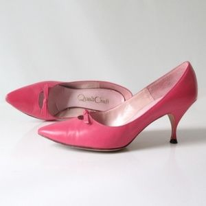 Vintage 60's Pink Heels With Bow Shoes Pumps 7.5